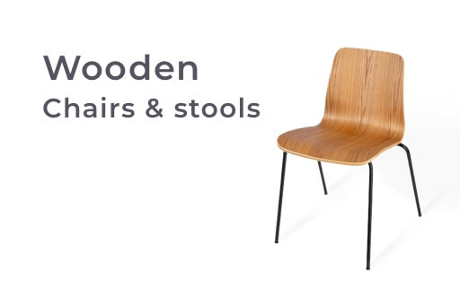 Wooden chairs and stools